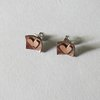 Copper Square with Copper Heart Stud Earrings by Liwo Design