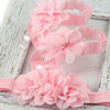 Chiffon Flower baby barefoot sandals and headband set - choose color by Croshka Designs