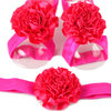 Croshka Designs Satin Flower Barefoot Sandals and Headband Set in Hot Pink - CHOOSE COLOR by Croshka Designs