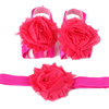 Croshka Designs Shabby Chic Flower Barefoot Sandals and Headband Set - CHOOSE COLOR by Croshka Designs