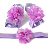 Croshka Designs Satin and Tulle Layered Flower Barefoot Sandals and Headband Set - CHOOSE COLOR by Croshka Designs