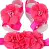 Croshka Designs Chiffon Layered Flower with Diamante and Beads Barefoot Sandals and Headband Set - CHOOSE COLOR by Croshka Designs