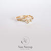 Handmade Double knot ring 9kt yellow gold and sterling silver by Van Nierop Juweliers / Jewellers