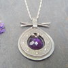Sterling Silver Pendant with  Amethist stone including chain by Cecilia Robinson Jewellery