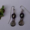 Black Pearl and Quartz Sterling Silver Earrings by Cecilia Robinson Jewellery