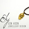 Brass Skull Necklace on black leather Cord by Eon Hoon Jewellery Design