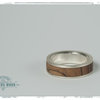 Silver and olive wood mans wedding band or everyday ring by Natasha Wood Jewellery