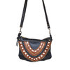 Black and brown Frida cross-body leather handbag by Mandara