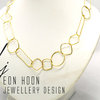 Gold plated Brass Simple Shapes Wire Necklace by Eon Hoon Jewellery Design