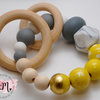 Grey and golden yellow teether by Rosa & Mae - Kids Design