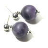 Natural frosted Amethyst gemstone on stainless steel studs by ATENEA