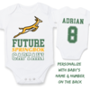 PERSONALISED SPRINGBOK RUGBY Baby Grow with NAME & NUMBER/Future Springbok Captain /Rugby World Cup 2019/ Go Bokke!/ Bodyvest / Rugby Baby Clothes/ Baby Shower Gift  by Little Lion Cub Studio