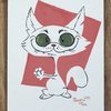 Troublemaker original gouache painting, gouache original, cat lover by Terrapin and Toad
