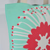 """Giant Pin"" tote in raspberry and aqua by i Spy"