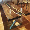 Leadwood glass river slab dining table by Kurve Designs