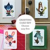 Blank greeting card set, Gouache animal illustrations, Cartoon, Snail mail revival by Terrapin and Toad