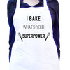 I bake, what's your superpower, White kitchen apron with colour detail, Full bib apron, Custom text colour, Unisex modern apron by Toast Stationery
