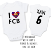 PERSONALISED FC BARCELONA Baby Grow with NAME & NUMBER/ I Love FBC / FC BARCELONA Onesie/ Bodysuit/ Body vest / Baby Clothes / Baby Shower by Little Lion Cub Studio