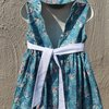 Blue oriental print cotton dress with sun hat  by JaxStar Handmade Clothing and Home