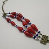 Red Blue and White 3 Strand Beaded Bracelet by META After Abstraction (Pty) Ltd