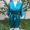 Turquoise satin &Lace Bridal Robe  by Polkadot Box