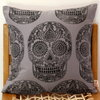 Sugar Skull hand block printed decorative scatter cushion cover in grey by Kerry Cherry Designs and Prints