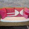 Pink cushion cover with white sash by JaxStar Handmade Clothing and Home