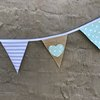 Grey/mint green hearts bunting by Going Dutch In Sa