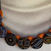 African fabric button necklace with satin ribbon by JaxStar Handmade Clothing and Home