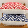 Navy Blue Chevron Hand block printed scatter cushion cover by Kerry Cherry Designs and Prints