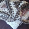 Robyn blocks and stripes super chunky single bed knitted blanket by needle nerds