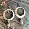 Brass Handcrafted Hoop Earrings with Sterling Silver earwires by Cecilia Robinson Jewellery