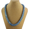 Beaded Cotton Necklace in Blue on Powder Blue by AnneBeth Designs