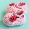Beautiful handmade crochet Mary Jane shoes with small flower detail by Croshka Designs