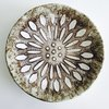 Cream brown flower pattern bowl by Clay Creations 56 - Handmade Pottery