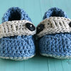 Handmade crochet baby boy Sailor booties by Croshka Designs