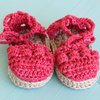 Espadrille Baby crochet shoes with ankle ties by Croshka Designs
