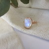 Rosecut Natural Rainbow Moonstone in solid 9ct Rose Gold Ring by Mignon Daubermann Jewellery Design