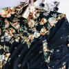 70s Style Black and Floral Kaftan  by ZugZwang Jewellery