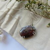 Red and Green Shaded Moss Agate in Sterling Silver Necklace by MD Jewellery Design