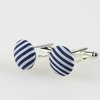 button cufflinks blue and white strips by Bow Peep