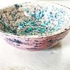 Pretty Pink Blue Splash Bowl by Clay Creations 56 - Handmade Pottery