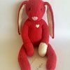 Clover the Bunny - Finished Item - Knitted Plush - 100% Cotton Yarn by foxymoon