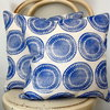 Cobalt blue hand block printed decorative scatter cushion cover by Kerry Cherry Designs and Prints