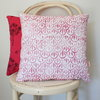 Cerise pink hand block printed scatter decor cushion cover by Kerry Cherry Designs and Prints