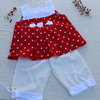 Red and white polka dot top with white matching pants age 2-3 by JaxStar Handmade Clothing and Home