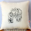 Mother and Baby Elephant hand block printed scatter decor pillow by Kerry Cherry Designs and Prints