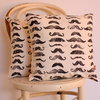 Moustache Movember Hand block printed scatter decor cushion by Kerry Cherry Designs and Prints