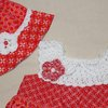 Red and white gathered swing dress for toddlers and sun hat Age 1-2 by JaxStar Handmade Clothing and Home