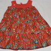 Orange floral cotton dress with crochet top Age 5 - 6 by JaxStar Handmade Clothing and Home